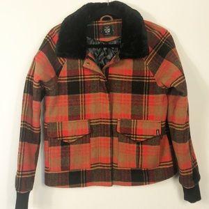 Volcom Stone Row Lumberjack Plaid Bomber Jacket Sm